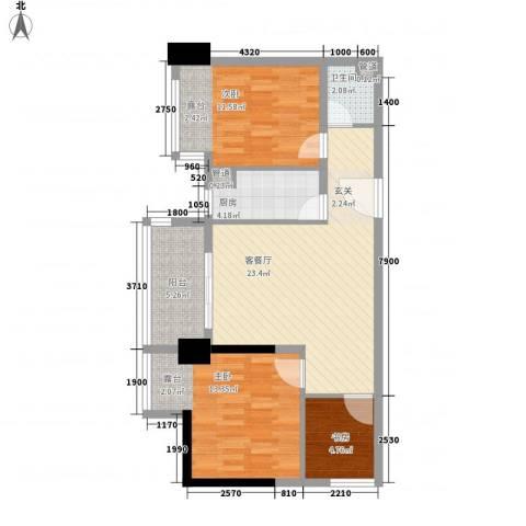 博林金谷四期3室1厅1卫1厨94.00㎡户型图