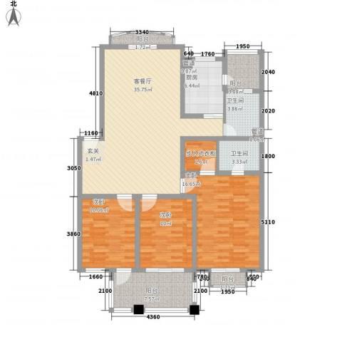 东湖花园3室1厅2卫1厨147.00㎡户型图