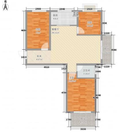 教授花园二期3室1厅1卫1厨113.00㎡户型图