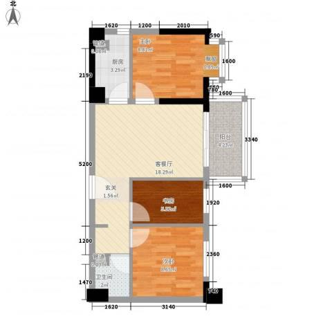 博林金谷四期3室1厅1卫1厨77.00㎡户型图