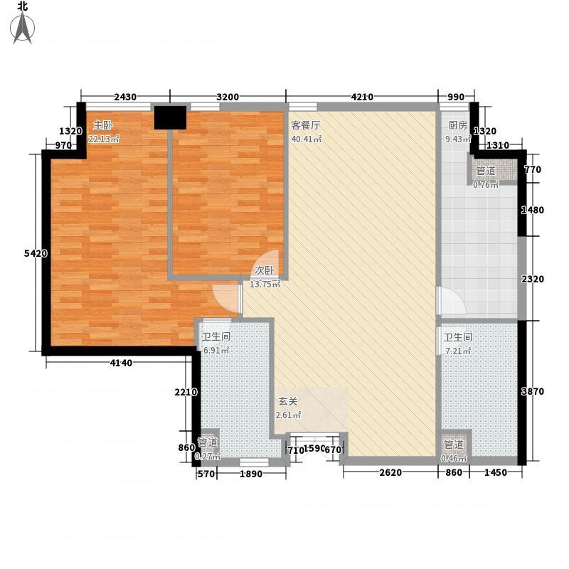 大连中心2室1厅2卫1厨148.00㎡户型图