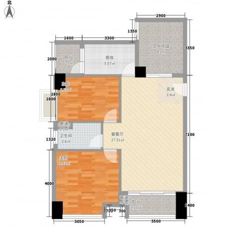 奥园海景城2室1厅1卫1厨73.96㎡户型图