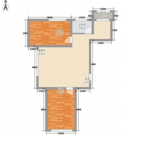 龙泰富苑2室1厅1卫0厨88.00㎡户型图