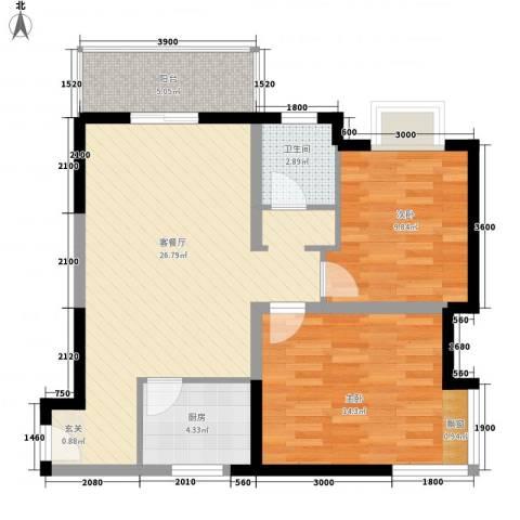 学林雅苑2室1厅1卫1厨90.00㎡户型图