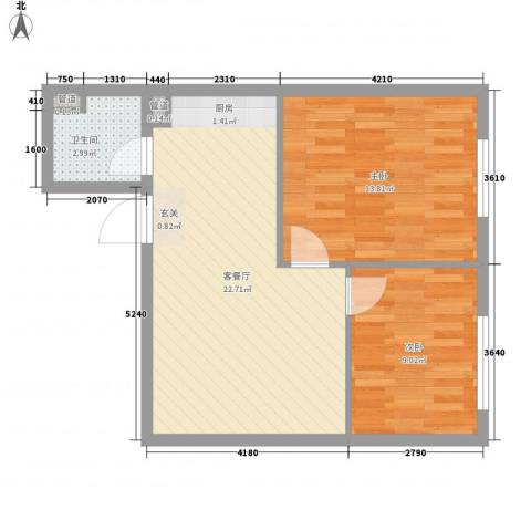 新东方公寓2室1厅1卫0厨68.00㎡户型图