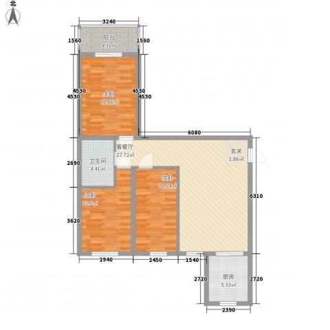 东方名筑3室1厅1卫1厨85.06㎡户型图