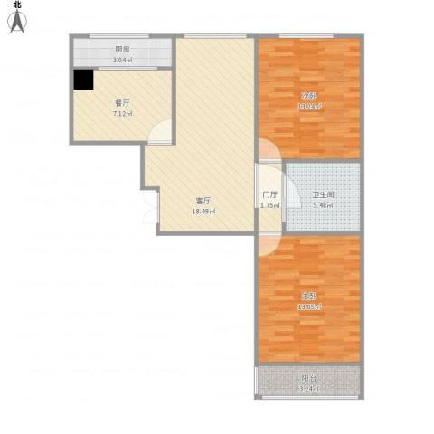 晨馨花园2室2厅1卫1厨110.00㎡户型图