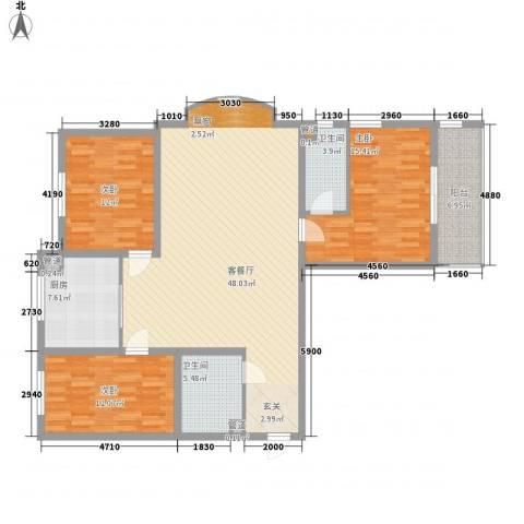 东方名筑3室1厅2卫1厨125.44㎡户型图