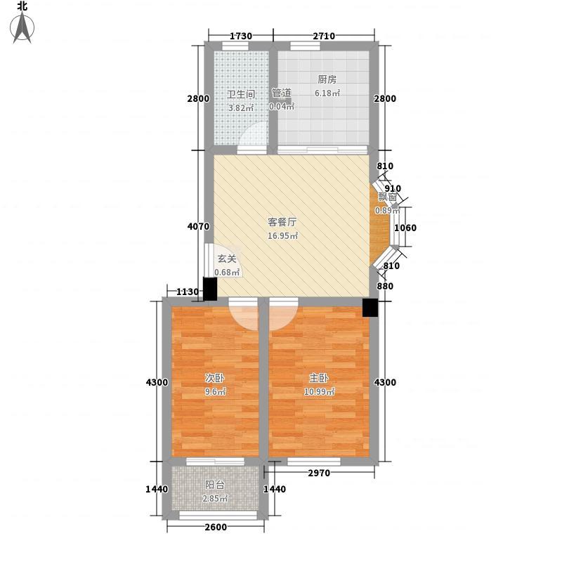 日鑫花园74.00㎡户型2室1厅1卫1厨