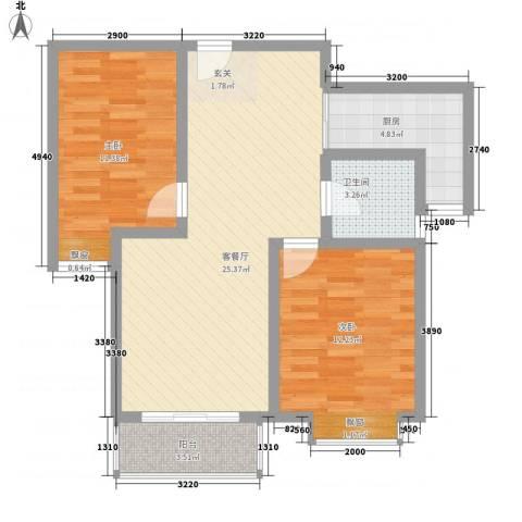 泰和家园2室1厅1卫1厨87.00㎡户型图