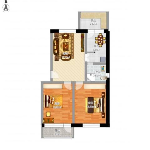 书林世家2室2厅1卫1厨92.00㎡户型图