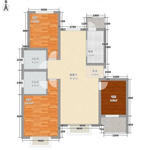石家庄饮食公司宿舍3室1厅2卫1厨123.00㎡户型图