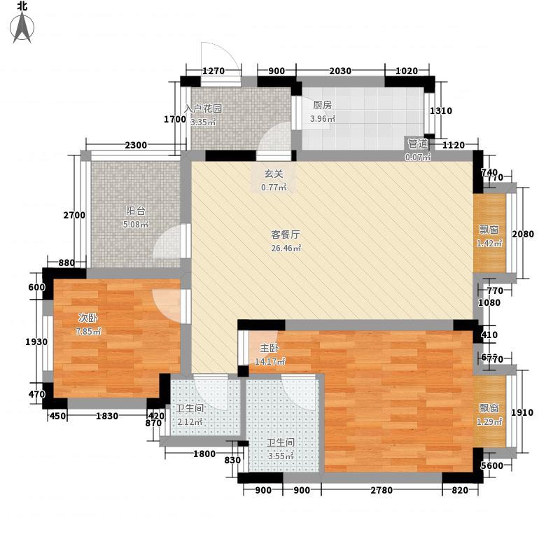 蓝谷小镇73.00㎡1期9\13\14\19号楼标准层A6户型