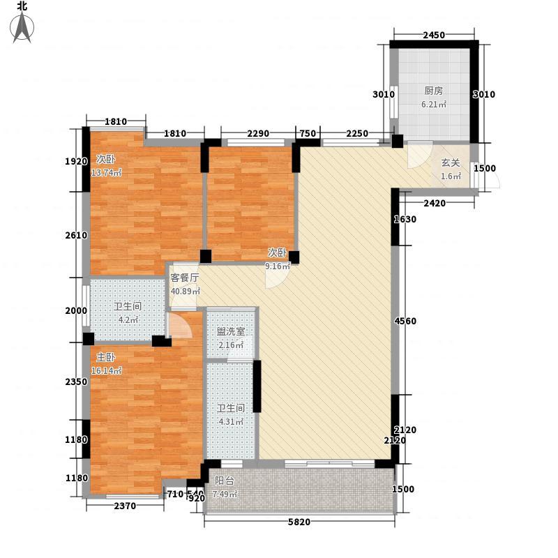 多荣公寓39户型3室2厅2卫1厨