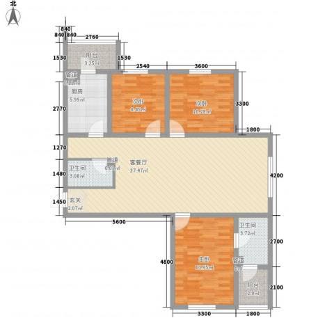 冠芳园二期3室1厅2卫1厨103.03㎡户型图