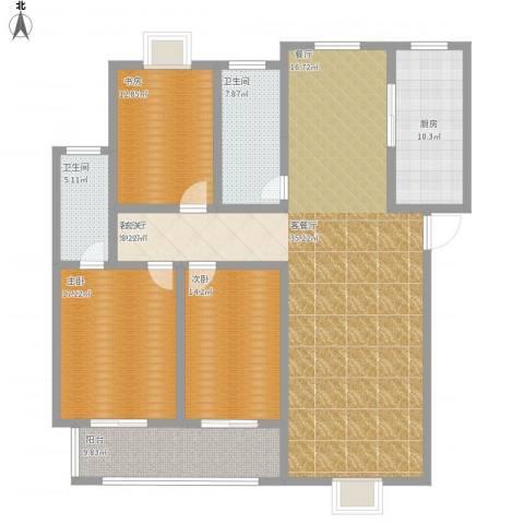 阳光3653室1厅2卫1厨195.00㎡户型图