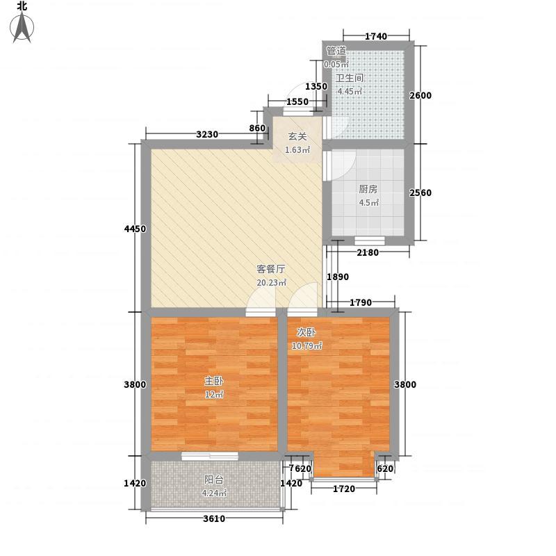 滨河城・左岸81.43㎡K8143户型2室2厅1卫1厨