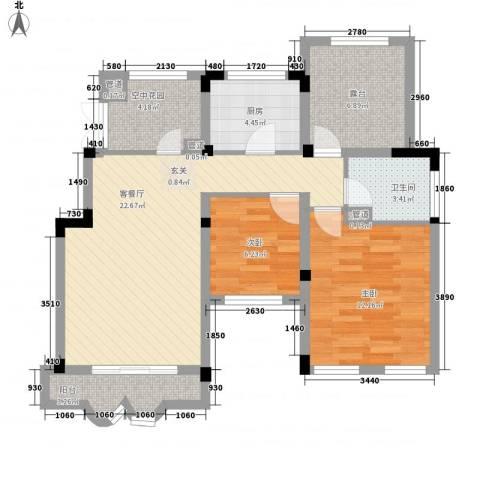 正商红河谷2室1厅1卫1厨63.59㎡户型图