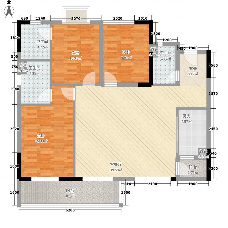 侨园・黄金海岸136.73㎡一期4栋04/5栋03单位户型3室2厅3卫1厨