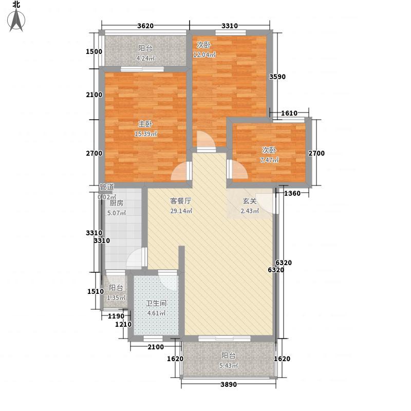 西华雅苑104.63㎡E型户型3室2厅1卫1厨