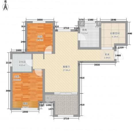 大华锦绣华城2室1厅1卫1厨80.00㎡户型图