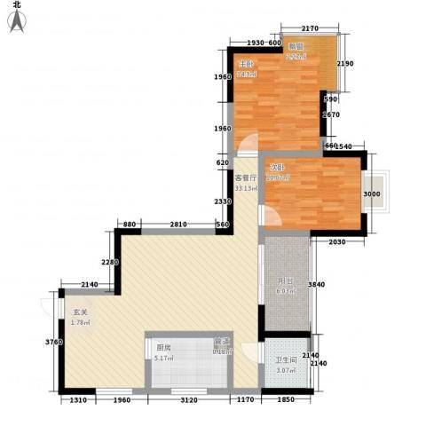 日月潭大厦2室1厅1卫1厨104.00㎡户型图