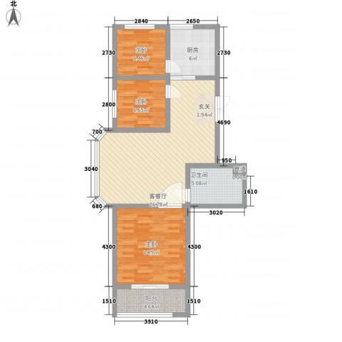 肇兴家园3室1厅1卫1厨102.00㎡户型图