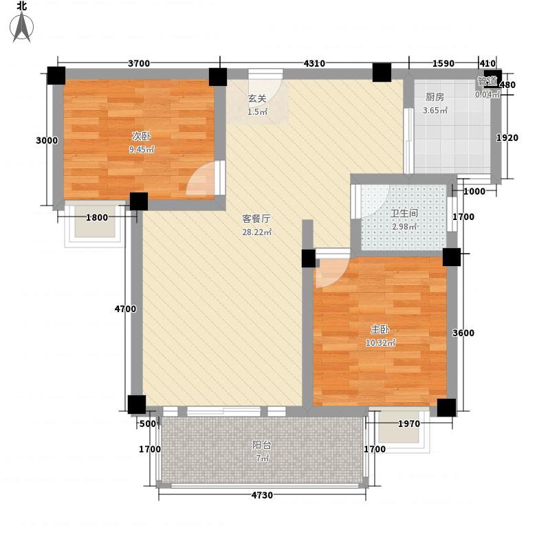 民强99号苑二居户型2室2厅1卫1厨