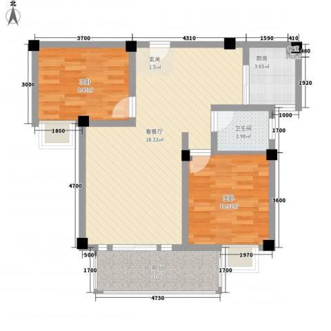民强99号苑2室1厅1卫1厨89.00㎡户型图