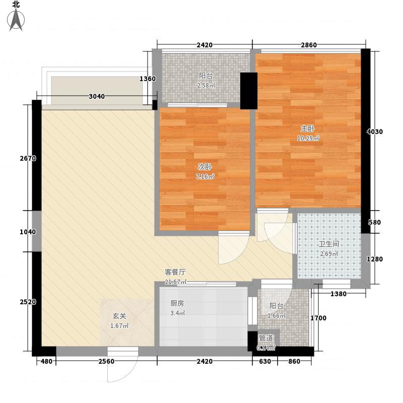 金地名座65.80㎡3层G户型2室2厅