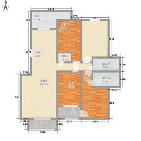 昌明伴山苑3室1厅2卫1厨146.65㎡户型图