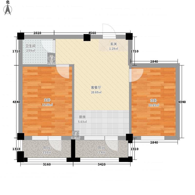 熙龙山庄76.00㎡B户型2室1厅1卫1厨