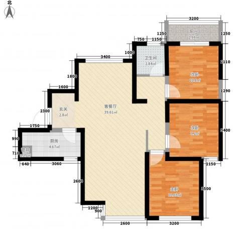 中宁花园3室1厅1卫1厨114.00㎡户型图