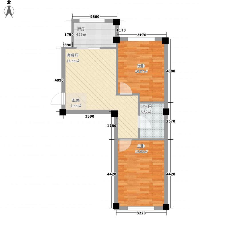 熙龙山庄67.36㎡C1户型2室1厅1卫1厨