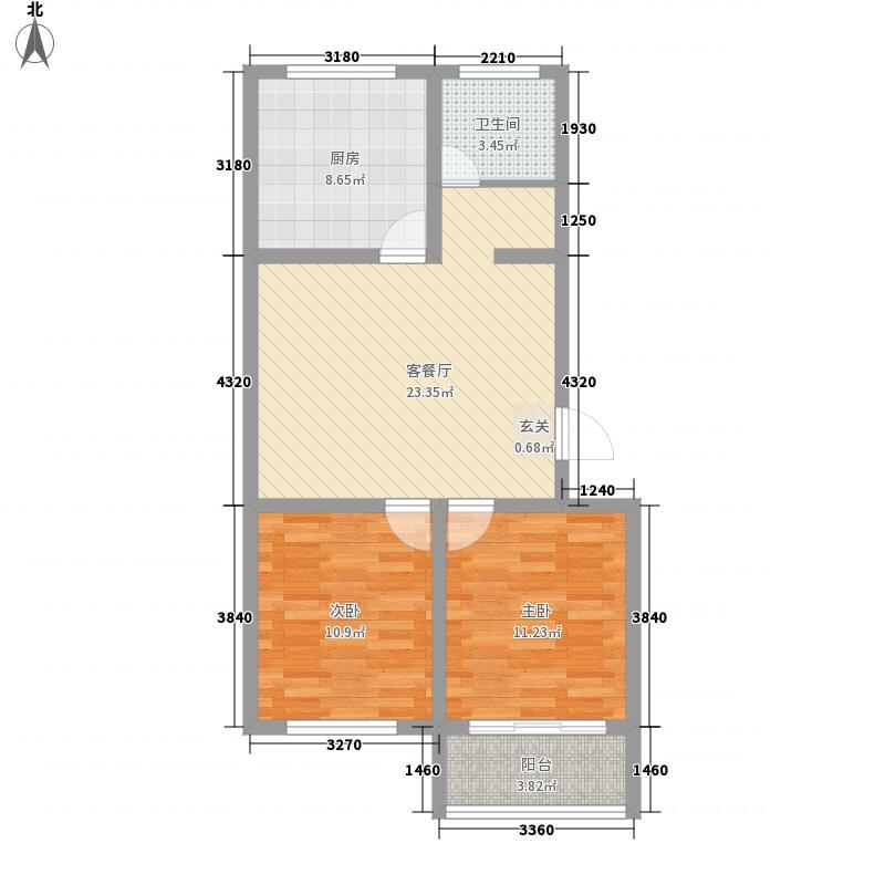 龙居家园88.50㎡5号楼户型2室2厅1卫1厨