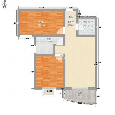 义井佳园琳珑苑2室1厅1卫1厨87.00㎡户型图