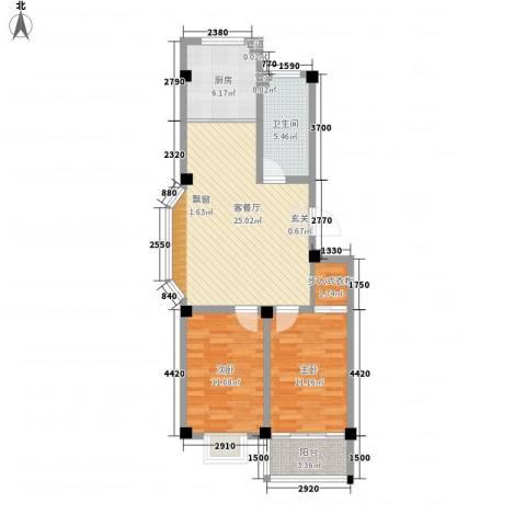 福德花园2室1厅1卫1厨93.00㎡户型图