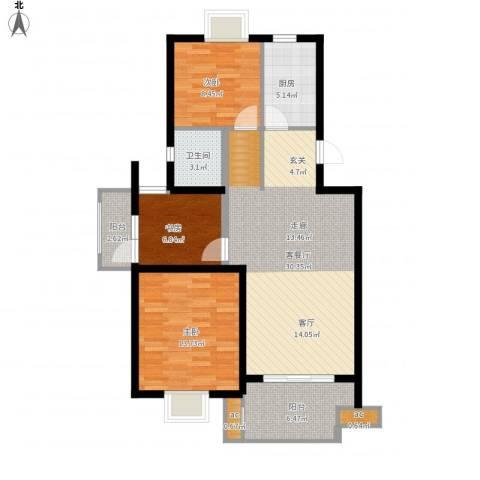 仙林诚品城3室1厅1卫1厨111.00㎡户型图