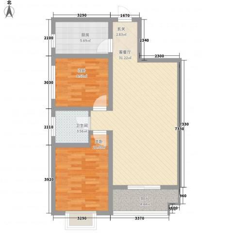 北城尚品2室1厅1卫1厨87.00㎡户型图