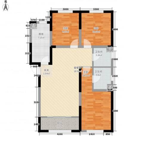 莲花尚院3室1厅2卫1厨118.00㎡户型图
