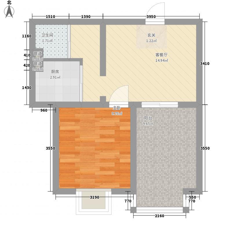 名优雅筑57.00㎡7#楼7E户型1室1厅1卫1厨