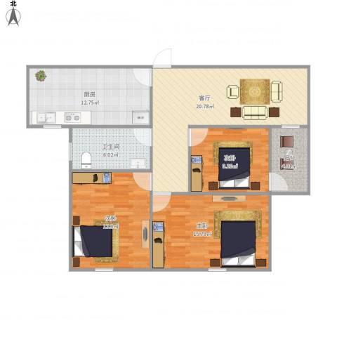 世茂江滨花园碧景湾3室1厅1卫1厨111.00㎡户型图