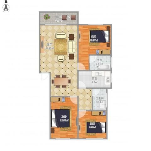 绿茵华庭7144773室1厅1卫1厨115.00㎡户型图