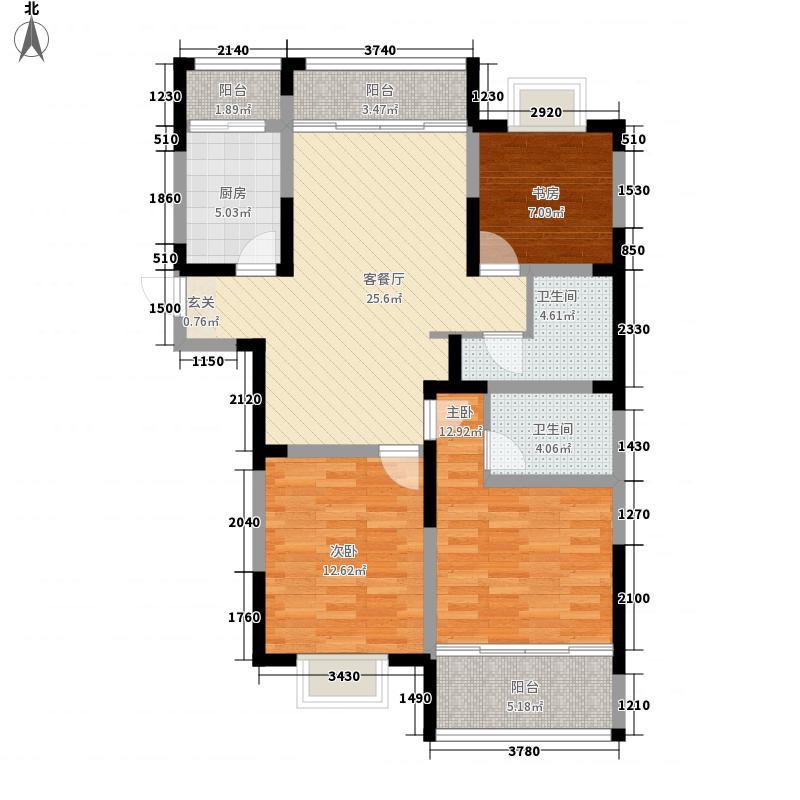 山河城122.57㎡1#楼2单元01户户型3室2厅2卫1厨