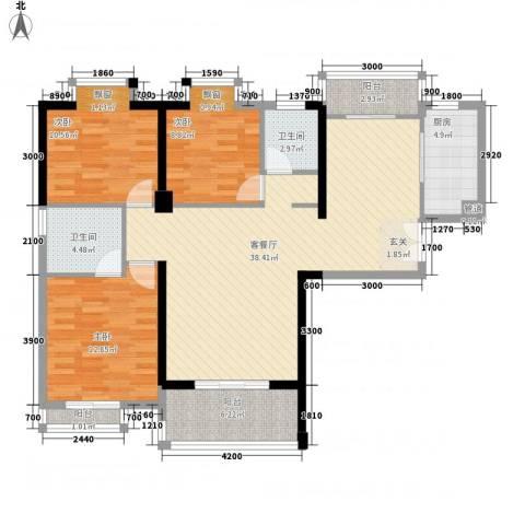 莲花尚院3室1厅2卫1厨126.00㎡户型图