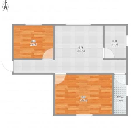 康怡花园2室1厅1卫1厨57.00㎡户型图
