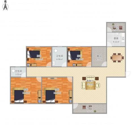 世茂江滨花园碧景湾4室1厅2卫1厨200.00㎡户型图