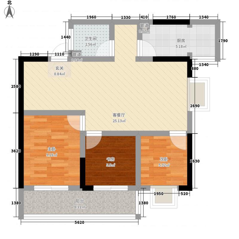 怡景花园88.00㎡户型3室