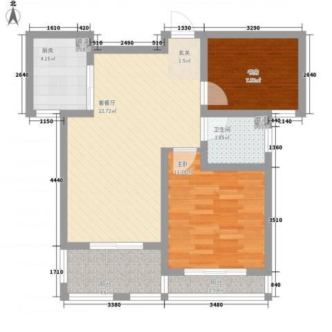 假日丽景2室1厅1卫1厨81.00㎡户型图