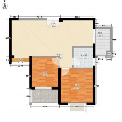 莲花尚院2室1厅1卫1厨88.00㎡户型图